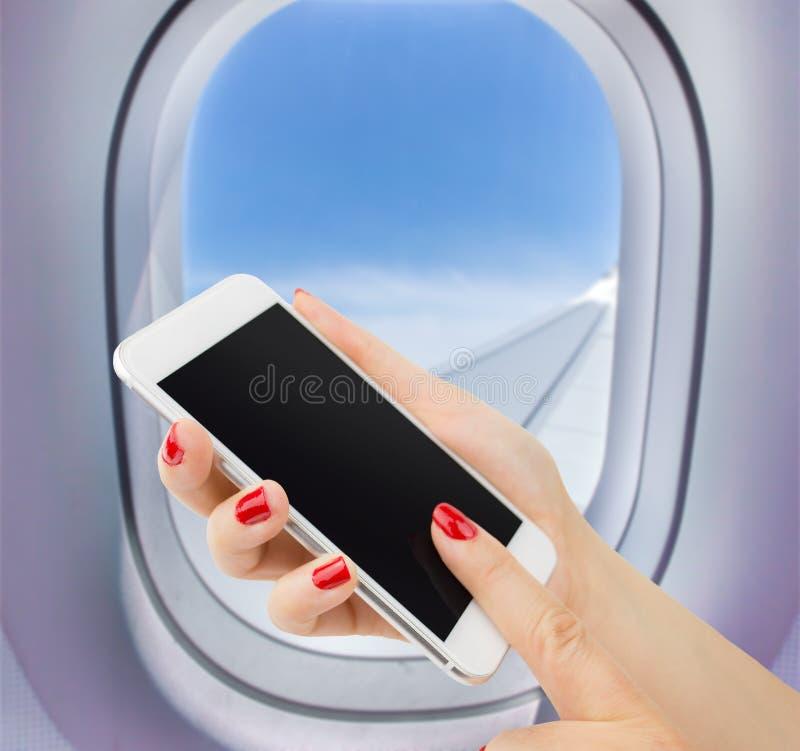 Verbonden in een vliegtuig stock afbeeldingen