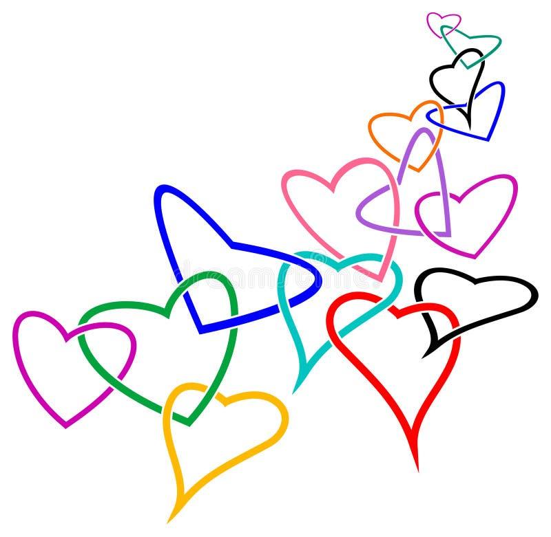 Verbonden harten stock illustratie