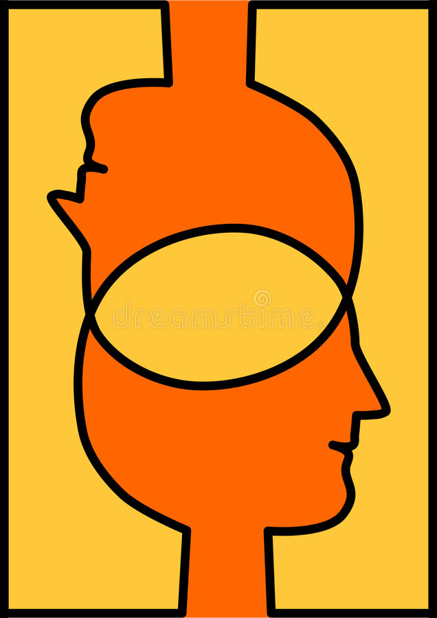 Verbonden hoofden die ideeën delen stock illustratie