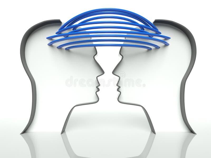 Verbonden hoofdenprofielen, concept mededeling stock illustratie
