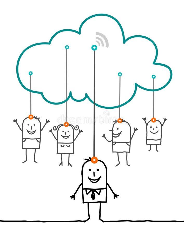 Verbonden karakters en wolk - royalty-vrije illustratie