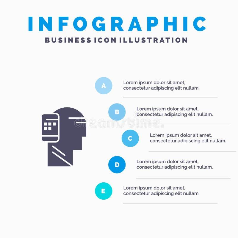 Verbonden mededeling, Menselijk, Mobiel, Mobiliteits Stevig Pictogram Infographics 5 de Achtergrond van de Stappenpresentatie stock illustratie