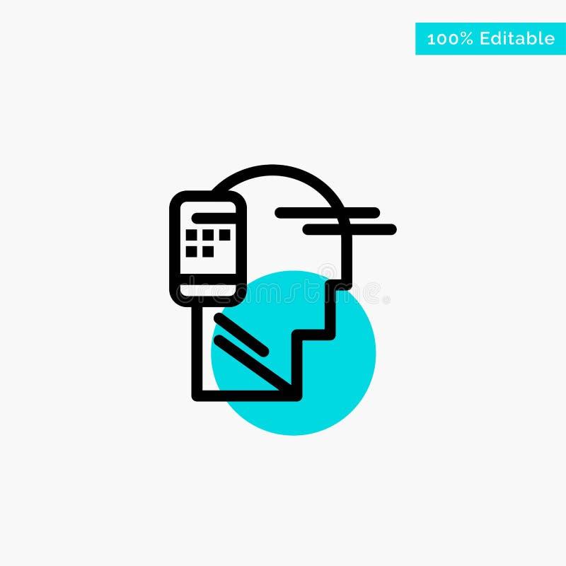 Verbonden mededeling, Menselijk, Mobiel, van het de cirkelpunt van het Mobiliteits het turkooise hoogtepunt Vectorpictogram stock illustratie