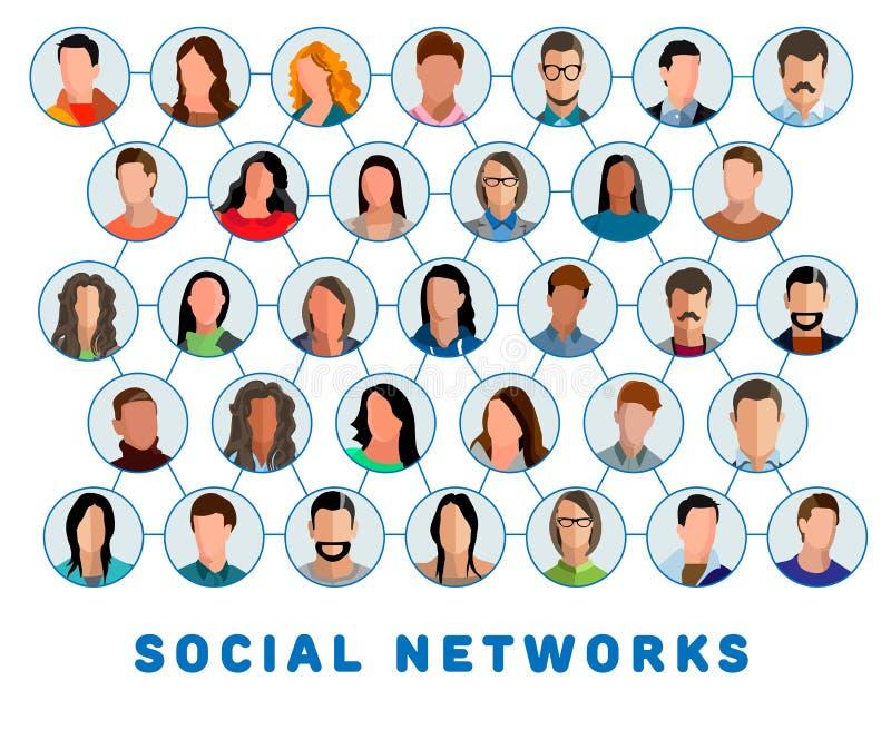 Verbonden mensen en sociaal netwerk stock illustratie