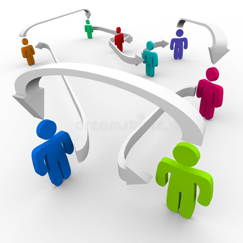 Verbonden Mensen in Netwerk stock illustratie
