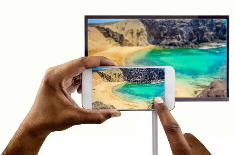 Verbonden met een TV stock foto