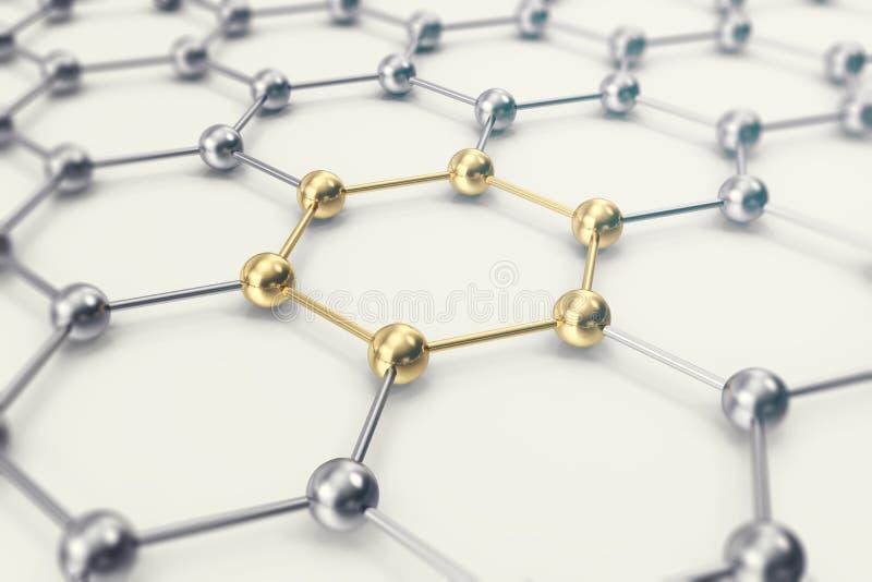 Verbonden molecules, gekristalliseerd in het hexagonale systeem 3D Illustratie vector illustratie