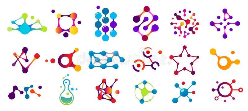 Verbonden molecules Het model van de moleculeverbinding, chemiedeeltje en kleuren moleculaire structuur geïsoleerde vlakke vector vector illustratie