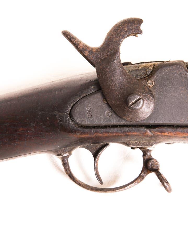 Verbonden Muskettrekker die & gedateerd 1862 detailleren merken royalty-vrije stock afbeeldingen