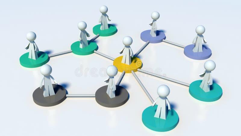 Verbonden netwerk van mensen - mededeling of hiërarchie royalty-vrije illustratie