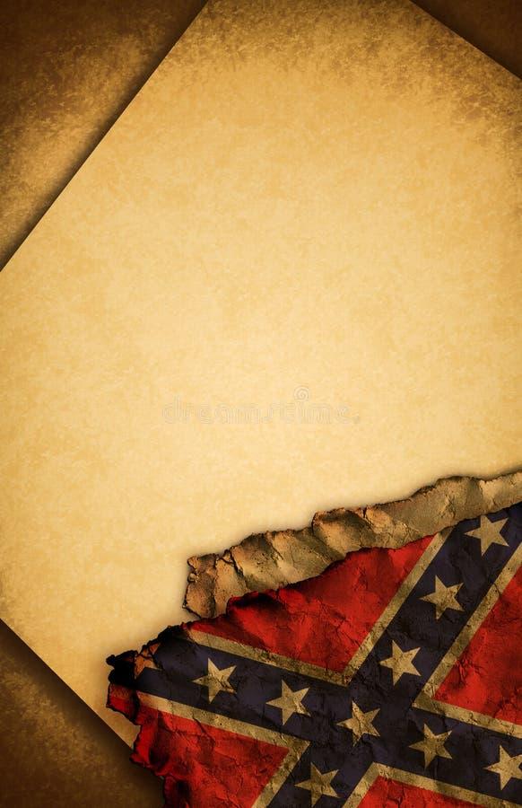 Verbonden RebellenVlag en oud document stock illustratie