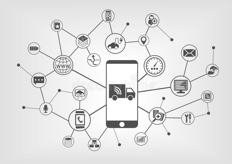 Verbonden vrachtwagens en het autonome drijven infographic met slimme telefoon stock illustratie