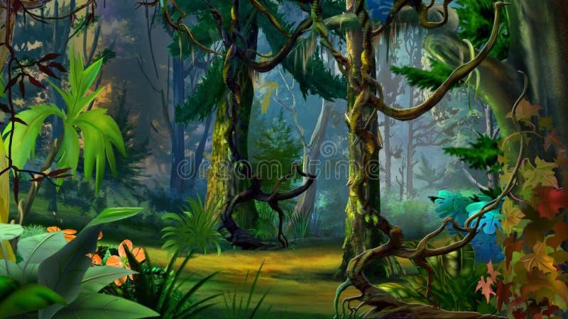 Verborgen Forest Path in de Zomer vector illustratie