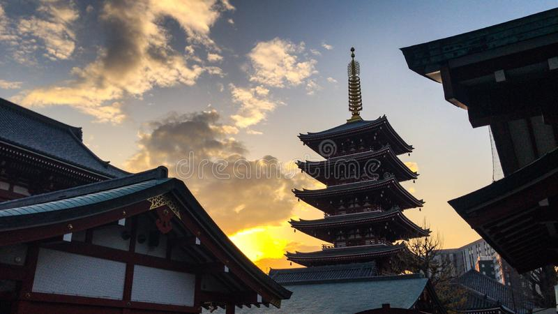 Verborgen Japanse Tempel stock afbeelding