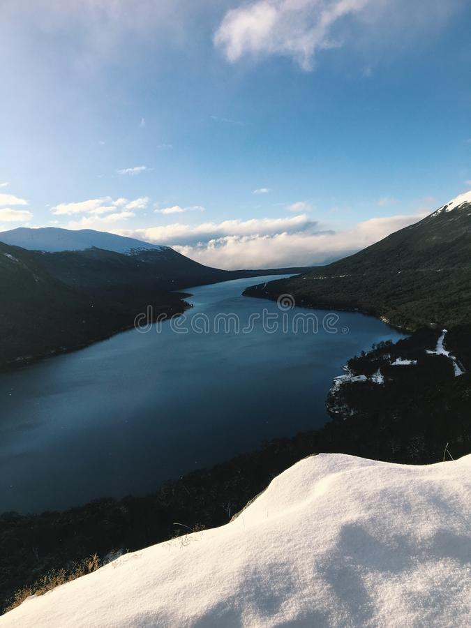 Verborgen meer, Ushuaia Argentinië stock afbeelding