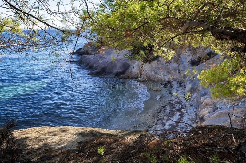 Verborgen weinig strand in Sithonia, Chalkidiki, Griekenland stock afbeelding