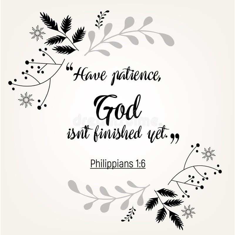 Verbos de la cita de la biblia en diseño floral de la guirnalda stock de ilustración
