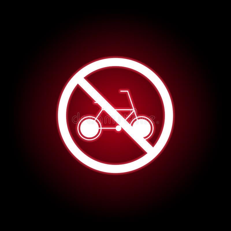 Verbotene Fahrradikone in der roten Neonart Kann f?r Netz, Logo, mobiler App, UI, UX verwendet werden stock abbildung