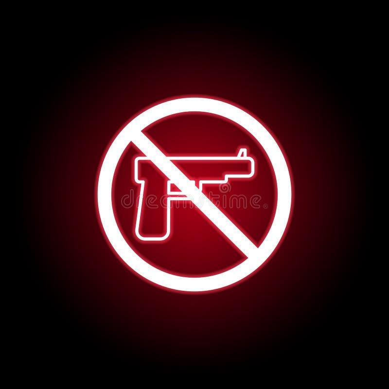 Verbotene Gewehrikone in der roten Neonart Kann f?r Netz, Logo, mobiler App, UI, UX verwendet werden lizenzfreie abbildung