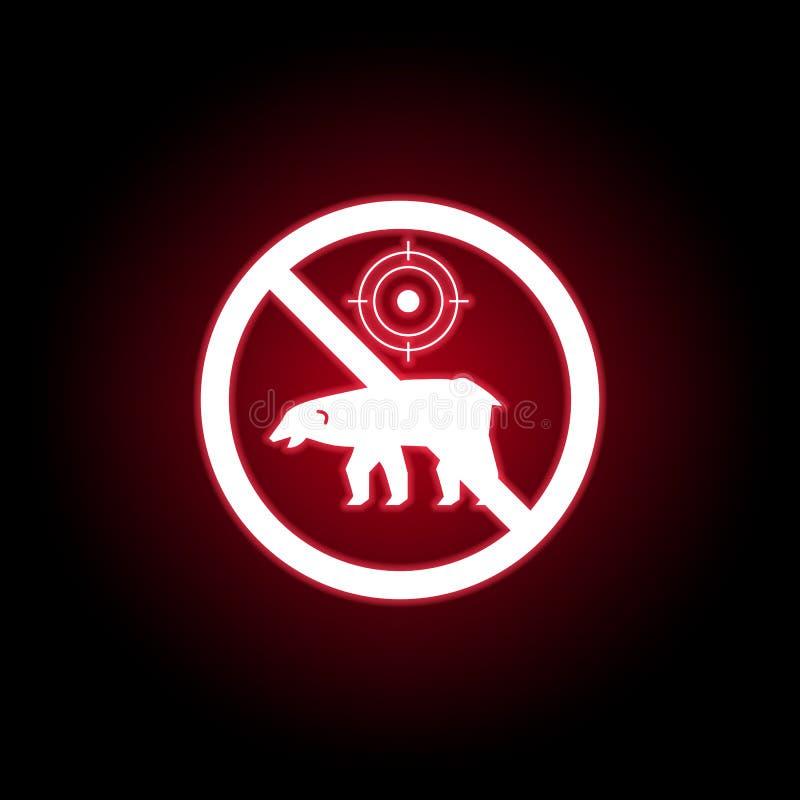 Verbotene Jagdbierikone in der roten Neonart Kann f?r Netz, Logo, mobiler App, UI, UX verwendet werden stock abbildung