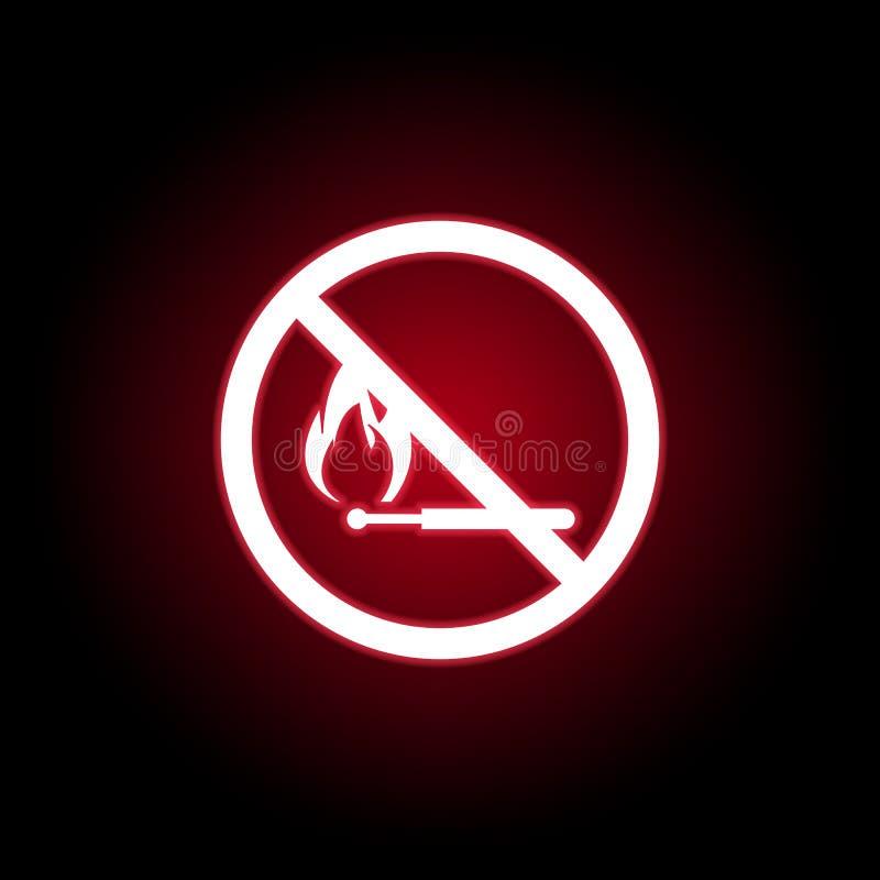Verbotene Matchikone in der roten Neonart Kann f?r Netz, Logo, mobiler App, UI, UX verwendet werden vektor abbildung