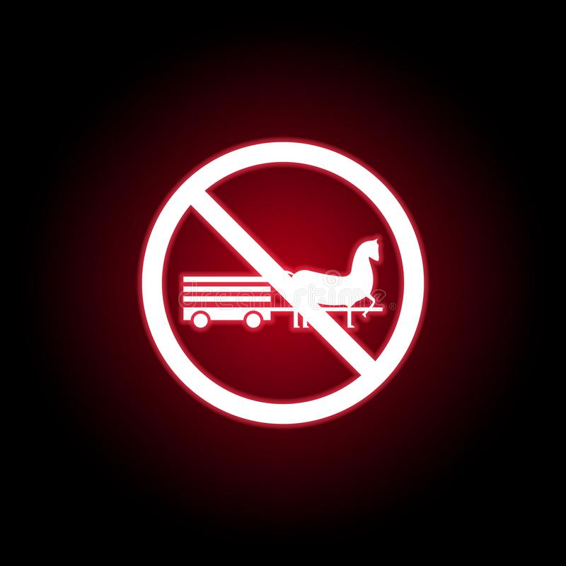 Verbotene Pferdeikone in der roten Neonart Kann f?r Netz, Logo, mobiler App, UI, UX verwendet werden vektor abbildung