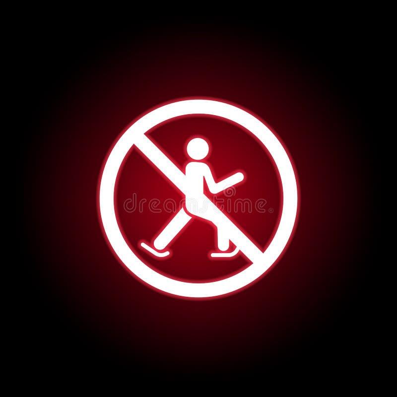 Verbotene Ski fahrende Ikone in der roten Neonart Kann f?r Netz, Logo, mobiler App, UI, UX verwendet werden lizenzfreie abbildung