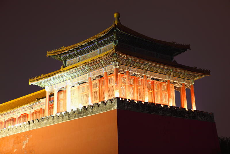 Verbotene Stadt an der Dämmerung in Peking, China. stockfotografie