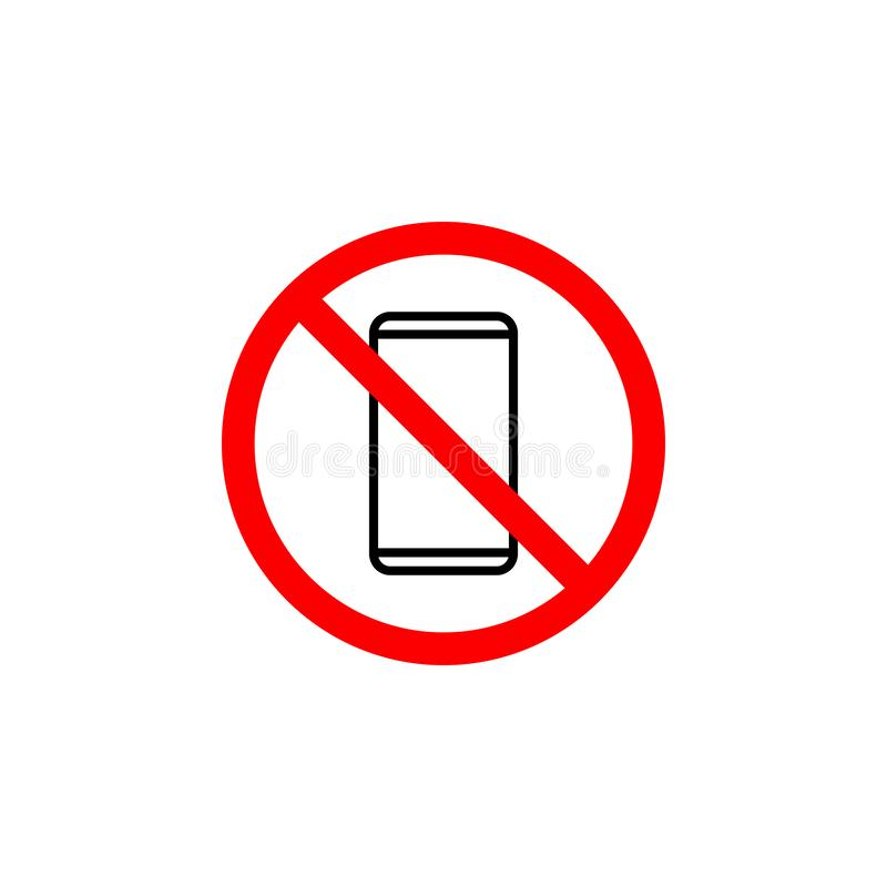 Verbotene Telefonikone kann für Netz, Logo, mobiler App, UI UX benutzt werden vektor abbildung