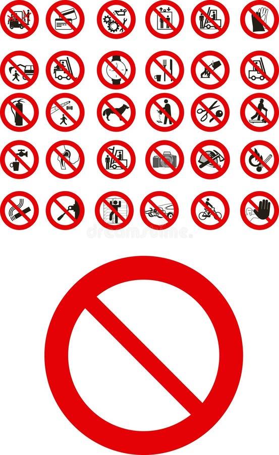 Verbotene Zeichen stock abbildung