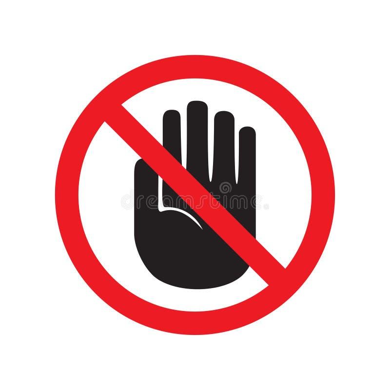 Verbotenes Zeichen mit Endhandglyphikone Kein Eintrittsverbot Berühren Sie sich nicht Schattenbildsymbol Negativer Platz Vektor l stock abbildung