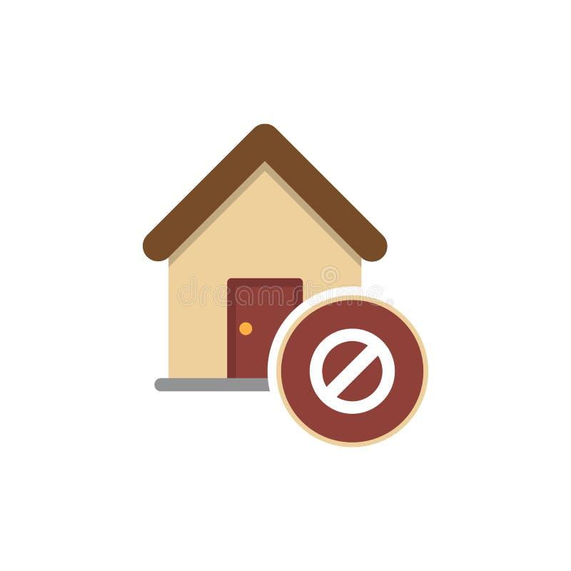 Verbotenes Zeichen mit Haus Glyphikone Stoppen Sie Schattenbildsymbol Gebäudeverbot Negativer Platz Vektor lokalisierte Illustrat lizenzfreie abbildung