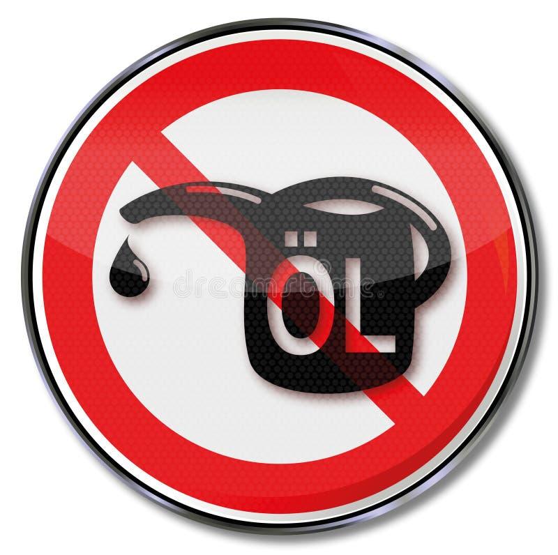 Verbotszeichen für Öl und Öldose vektor abbildung