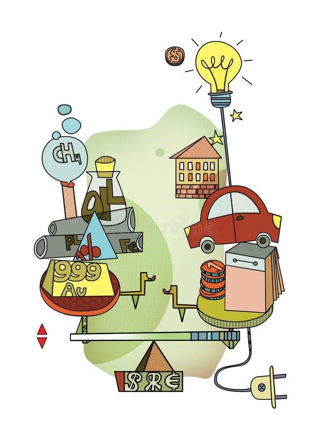 Verbrauch oder Investition Langlebigkeit und Wahl Skalen mit Symbolen des unterschiedlichen Prinzips des Ausgabengeldes Pop-Art G lizenzfreie abbildung