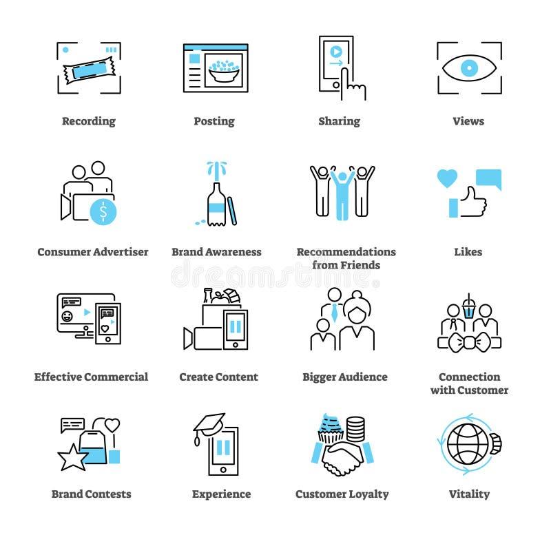 Verbraucher erzeugte Werbungsikonen-Sammlungssatz Anzeigenvektorillustration stock abbildung