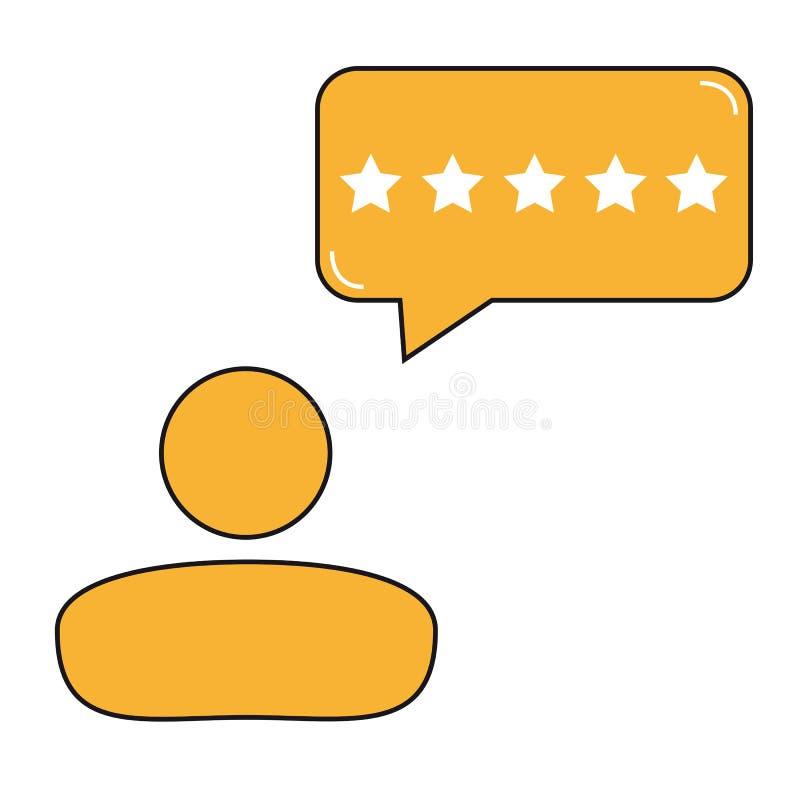 Verbraucher-oder Kunden-Produktbewertungs-Blasen-Ikone - für Apps und Website vektor abbildung