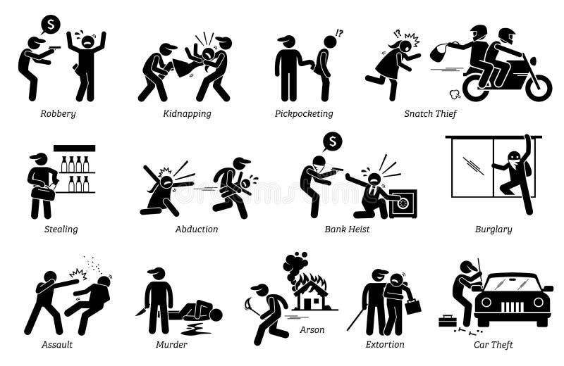 Verbrechen und Verbrecher stock abbildung