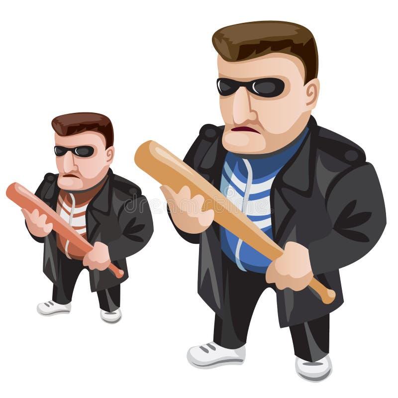 Verbrecher in der Sonnenbrille und mit Schläger in seinen Händen lizenzfreie abbildung