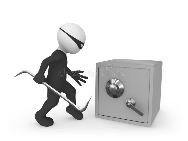 Verbrecher gegen Banksafe vektor abbildung