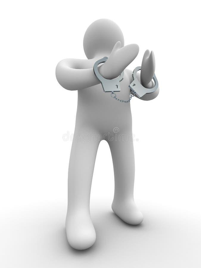 Verbrecher geverkettet in den Handschellen. stock abbildung