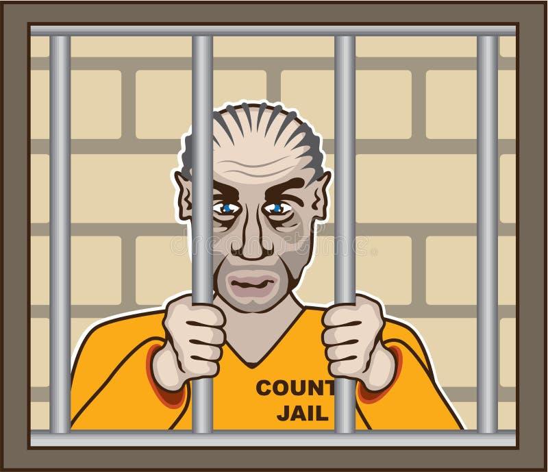 Verbrecher im Gefängnis lizenzfreie abbildung