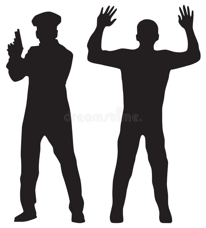 Verbrecher und Polizeibeamte stock abbildung