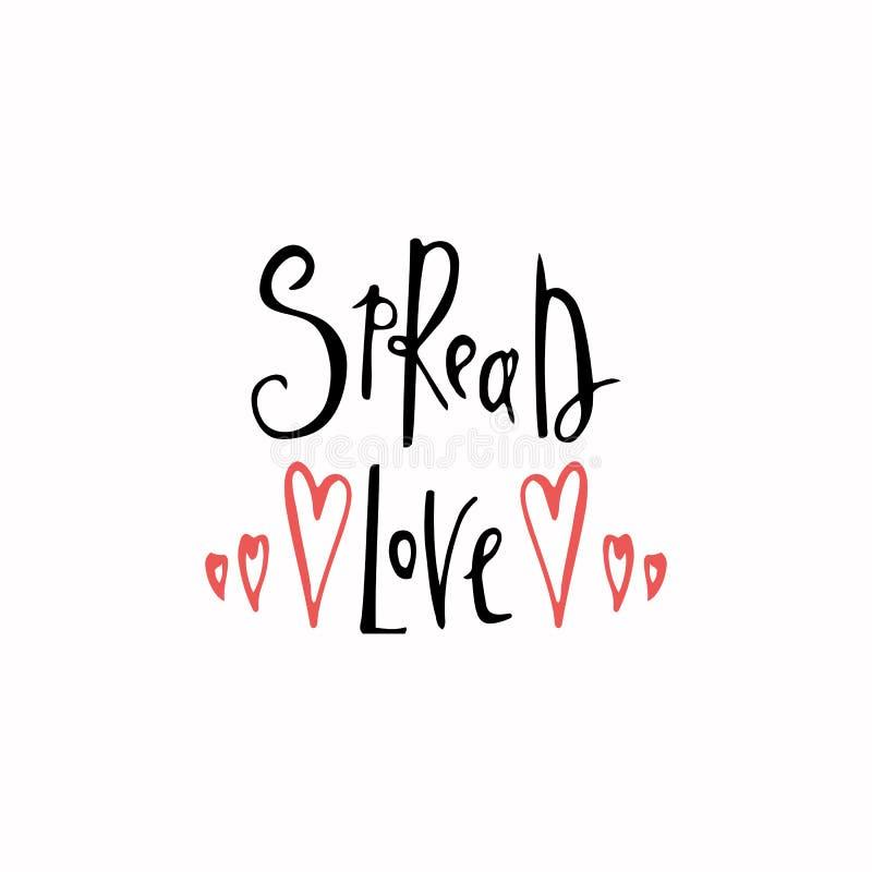 Verbreiten Sie romantische Aufschrift der Liebe Grußkarte mit Kalligraphie Hand gezeichnete Beschriftung Typografie für Einladung vektor abbildung