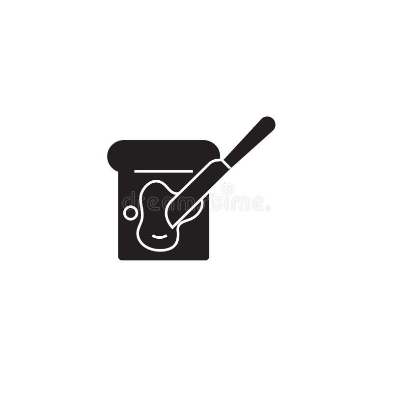 Verbreitete Butterschwarze Vektor-Konzeptikone Verbreitete Butterflache Illustration, Zeichen stock abbildung