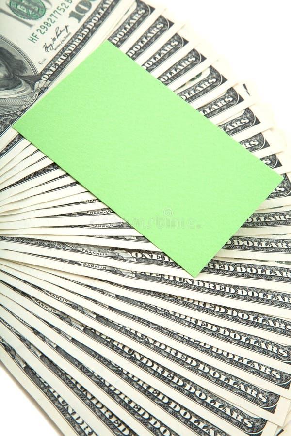 Verbreitung des Bargeldes mit unbelegter Karte für Text lizenzfreie stockfotos