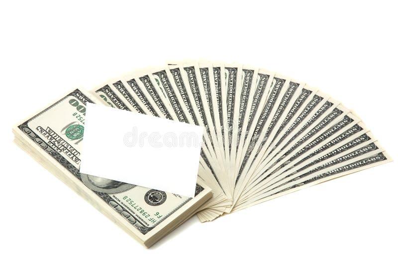 Verbreitung des Bargeldes mit unbelegter Karte für Text lizenzfreie stockfotografie