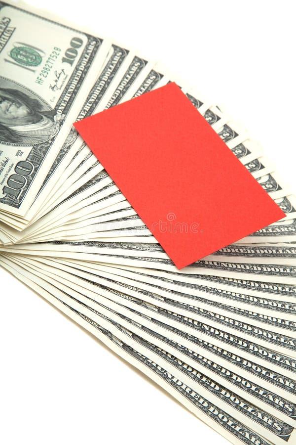 Verbreitung des Bargeldes mit unbelegter Karte für Text stockbild