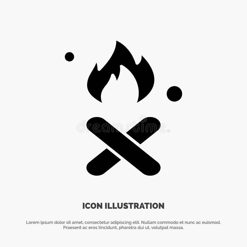 Verbrennung, Feuer, Müll, Verschmutzung, Rauch-Feste-Glyphe lizenzfreie abbildung