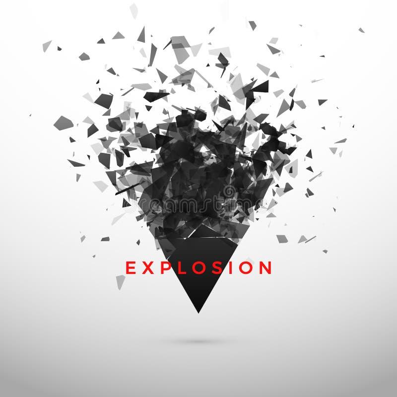 Verbrijzel en vernietigings donkere driehoek Abstracte wolk van stukken en fragmenten na explosie Vector vector illustratie