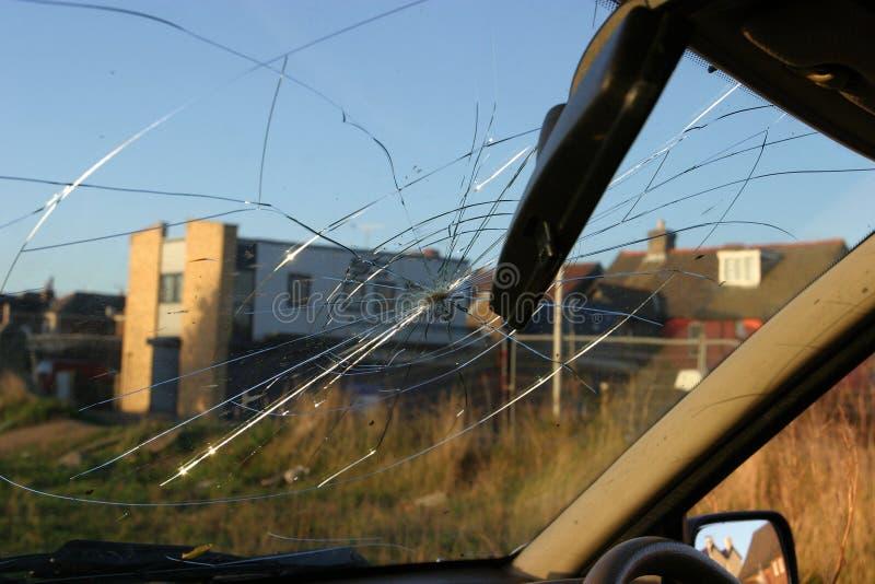 Verbrijzeld Windscherm, Binnenlandse Mening stock foto's
